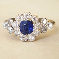 Antique Victorian Sapphire and Diamond Ring, One of a Kind Antique Sapphire Diamond Ring 18k Gold, Approximate Size US 6