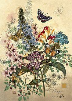 flores, jardim, borboletas, Bug Art