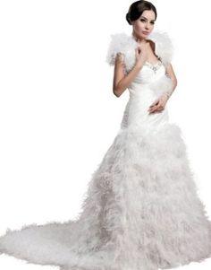 herafa w35859-14 Wedding Dress Elegant Sweetheart Short Sleeve Delicate Beading Long 0 A-Line White at Amazon Women's Clothing…