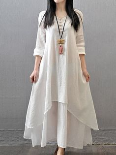 Irregular Hem Two Layers Leisure Loose Simply Maxi Dress Plus Size Dresses on buytrends.com