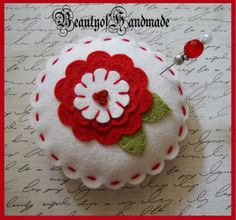 Wool Felt Pincushion Pillow,Glass Beads Stick Pin,bowl filler,pin cushion, applique embroidery. $7.00, via Etsy.