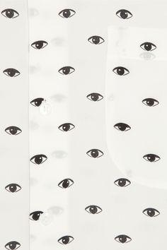 KENZO|Eye-print silk-crepe shirt|NET-A-PORTER.COM