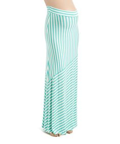 Jade Stripe Maternity Maxi Skirt