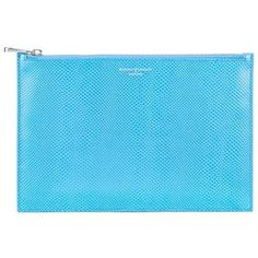 Aspinal of London Large Essential Flat Pouch In Aquamarine Lizard