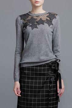 Star Mesh Panel Cashmere Sweater