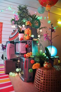 A pan-Asian, pink and neon-drenched set design for Nicki Minaj's music video