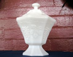 Anchor Hocking Milk Glass Opaque White Grape Footed Candy Dish  Box & Cover #AnchorHockingGlass