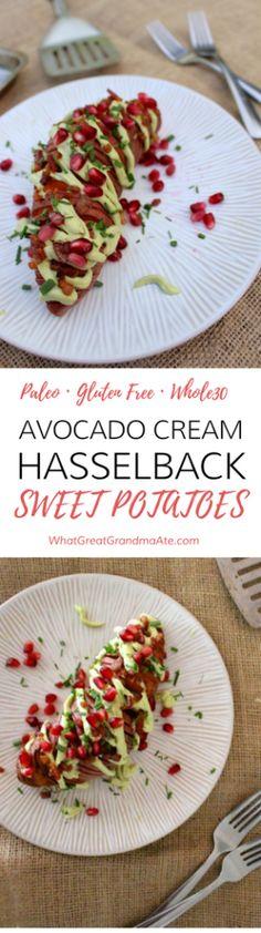 Avocado Cream Hasselback Sweet Potatoes - Paleo Gluten Free Whole30