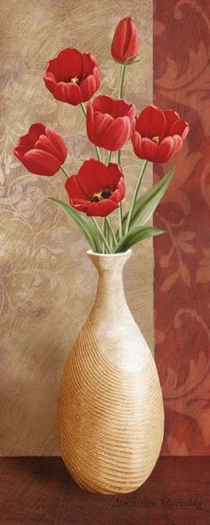 Art Print: Bold Trimmings Wall Art by Conrad Knutsen by Conrad Knutsen : Art Floral, Flower Prints, Flower Art, Autumn Painting, Tulips Flowers, Red Tulips, Poppies, Vintage Flowers, Framed Artwork