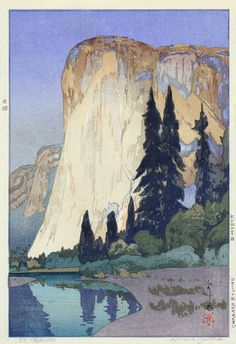 El Capitan, Yosemite Valley by Hiroshi Yoshida, 1925 (Japanese woodblock print) Arte Peculiar, Hiroshi Yoshida, Kunst Online, Art Asiatique, Art Japonais, Yosemite Valley, Yosemite California, Art Et Illustration, Botanical Illustration