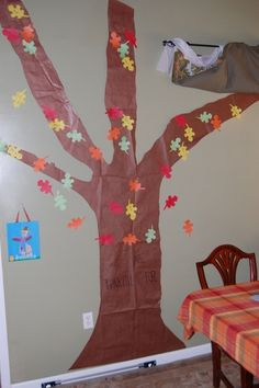 What we are thankful for tree. At Thanksgiving we gave guests about 10 leaves each. We asked them to right what they were thankful for on them. We went around the room and read them out as we pinned them on the tree.