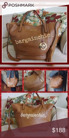 🆕 Listing!🎉MK SOFT LEATHER Camel Tote🎉 Gorgeous leather bag has an unfinished interior with detachable liner. The liner has two patch pockets. 100% leather bag, 100% cotton liner. Imported. Smoke/pet-free home. See Offer Chart in my closet if you're interested!  💞Thanks for browsing my closet!💞 MICHAEL Michael Kors Bags Totes
