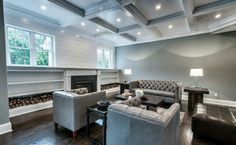 #sublimehomes #wallcladding #bookcases #fireplace #dreamitbuilditloveit #cofferedceiling