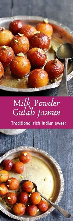 Gulab jamun recipe with milk powder with step by step photos. Learn how to make soft melt in mouth milk powder gulab jamun with this easy recipe. Indian Dessert Recipes, Sweets Recipes, Real Food Recipes, Cooking Recipes, Indian Sweets, Indian Recipes, Jelly Bread, Milk Powder Recipe, French Toast Bites