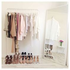 This has a nicely done neutral palette and clothes arranged very attractively.