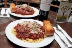 This week's $25 Dinner for 2 and Bottle of Wine: Classic Spaghetti and Meat Sauce with Garlic Bread and Bottle of Sangiovese!