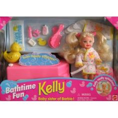 Barbie KELLY Bathtime Fun Set - Kelly Really Splashes! Oh I remember getting this! had so much fun making bubbles come in the tub! Barbie Kelly, Barbie I, Barbie Stuff, Childhood Memories 90s, Childhood Toys, Back In The 90s, 90s Toys, Barbie Collection, Cool Baby Stuff