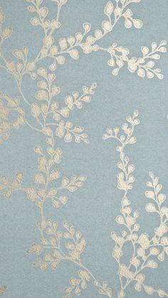 Shadow Fern Floral Wallpaper Metallic gilver shadow fern print on sea blue wa . t - Wallpaper