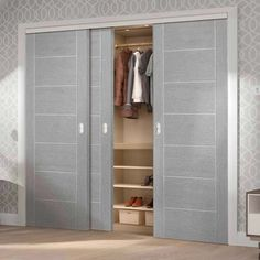 Thruslide Palermo Light Grey Flush 3 Door Wardrobe and Frame Kit - Prefinished - Lifestyle Image. Internal Sliding Doors, Sliding Wardrobe Doors, Sliding Glass Door, Simple Wardrobe, Minimalist Wardrobe, Flush Doors, Grey Doors, Bedroom Wall Colors, Wardrobe Cabinets