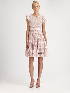 RED Valentino Ruffle-Sleeve Lace Dress