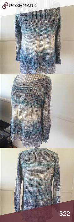 Blue ombré knit sweater Cuffed sleeves, split on sides, slightly longer in the back. Looks great with white jeans. Only worn a few times. Purchased at Nordstrom. Rubbish Sweaters Crew & Scoop Necks
