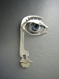 Curious Eye  Half Face Brooch  OOAK Ready to ship by metalmorphoz, $485.00