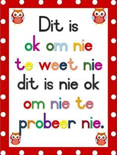 Preschool Homework, Preschool Learning, Teaching, Classroom Posters, Classroom Themes, Afrikaans Language, Phonics Chart, Effective Classroom Management, Afrikaans Quotes