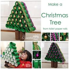 Crafts With Toilet Paper Rolls-Toilet Paper Christmas Tree For Kids