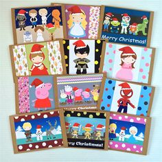 Character Christmas Blank Cards Pack of 12 Bright & fun designs for everyone! | Little Ladybird | madeit.com.au