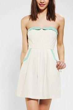 COPE Linen Contrast Strapless Dress