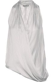 Helmut Lang Glassy draped washed-sateen top