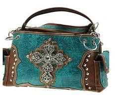 Western Cross Turquoise Handbag