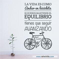 90x150 cm #retovinilo #vinilosdecorativos #textos #frases #bicicleta #equilibrio #avanzar