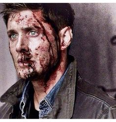 Jensen Ackles, aka Dean Winchester, on the CW's Supernatural. Something about a guy with blood on him.
