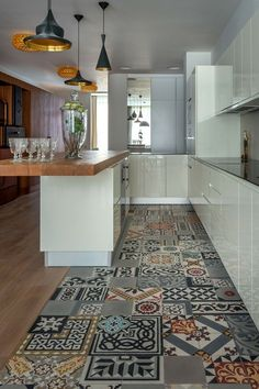 Vinyl Floor Tile Sticker - Floor decals - Carreaux Ciment Encaustic ...