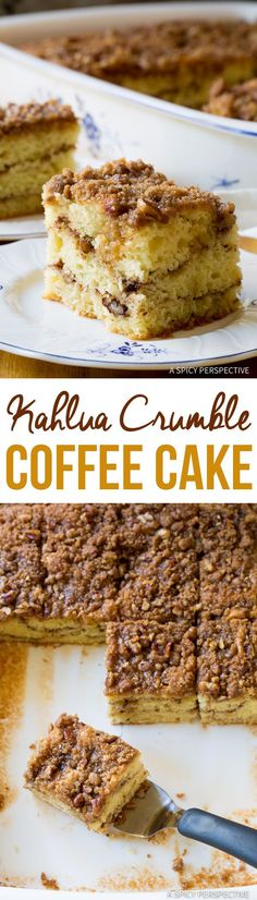 Kahlua Coffee Cake Recipe, a fabulous sour cream coffee cake with Kahlua crumble topping. This is the BEST coffee cake we've ever tried. Kahlua Recipes, Coffee Recipes, Brunch Recipes, Sweet Recipes, Cake Recipes, Dessert Recipes, Pumkin Recipes, Drink Recipes, Breakfast Recipes