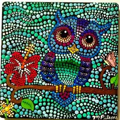 Finished up another custom order tonight. I am really so excited at how this colorful little owl came out #P4MirandaPitrone #artist #etsy #painting #art #dot #style #colorful #handmade #handpainted #photo #teal #flowers #arte #myart #owl #cute #l