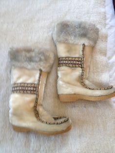Vintage Eskimo Seal Fur Boots by Eskipades Size 6 Fits 7