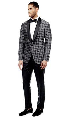 Graphite Houndstooth Tuxedo  #menswear #mensfashion #graysuit #mensstyle #glennplaid #wedding #weddingsuit #groom #groomssuit #groomsmen #groomsman #weddingstyle #suitandtie #bluesuit #plaidsuit #strippedsuit #pinstripes #tux #tuxedo #weddingtuxedo #blacktux #houndstooth #houndstoothsuit