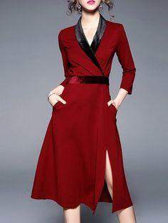 ea5925648acc Deep Red 3 4 Sleeve Plain Surplice Neck Midi Velvet Dress Plain White Dress