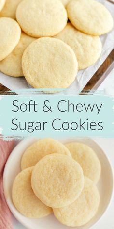 The most perfect sugar cookie recipe! These soft & chewy sugar cookies turn out perfectevery time! These Easy Sugar Cookies are incredibly soft, chewy, and they don't require any dough chilling. The perfect simple cookie for any occasion! Chewy Sugar Cookie Recipe, Homemade Sugar Cookies, Soft Sugar Cookies, Sugar Cookie Dough, Easy Cookie Recipes, Soft Shortbread Cookie Recipe, Simple Dessert Recipes, Homemade Cookie Dough, Chocolate Sugar Cookies