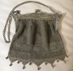 Antique Victorian G Silver Fancy Fringe Chain Mail Mesh Art Nouveau Frame Purse #EveningBag
