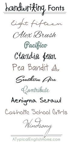 Use One Of These Fonts For Your Title Or Journaling