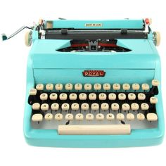 1958 Turquoise Royal Quiet DeLuxe Typewriter with Original Case (36.645 RUB) ❤ liked on Polyvore featuring home, home decor, turquoise home accessories and turquoise home decor
