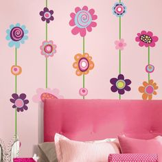 Girls Bedroom with Flower Wall Decals · beautiful decoration ideas . Flower Wall Decals, Kids Wall Decals, Wall Stickers Murals, Wall Murals, Wall Art, Wall Décor, Butterfly Bedroom, Wall Appliques, Striped Walls