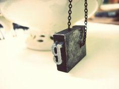 G Letterpress necklace