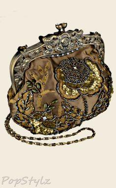MG Collection - Antique Beaded Rose Handbag