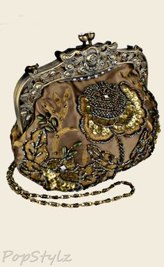 MG Collection - Antique Beaded Rose Handbag