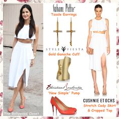 For Fitoor promotions yesterday, Katrina Kaif opted a White Stretch Cady Skirt and Cropped Top from Cushnie et Ochs's resort 2016 collection styled with Suhani Pittie Earrings, Style Fiesta Gold Cuff and Coral Pumps by Christian Louboutin. Katrina looks great!!! She was styled by Tanya Ghavri.