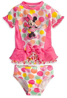 21af1a595f Disney Store Minnie Mouse Swimsuit: Deluxe 2-Piece Polka Dot Swimwear for  Girls (